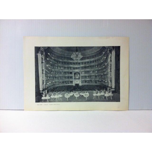 """Circa 1930 """"Teatro Della Scala"""" Print of Milano, Italy For Sale - Image 4 of 4"""