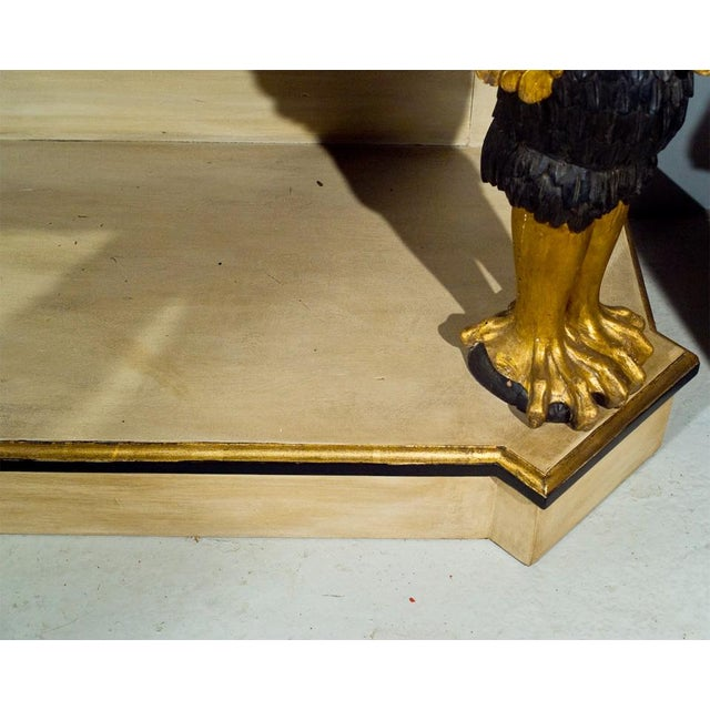 French Marble Top Console With Gilt Carved Swans For Sale - Image 5 of 7
