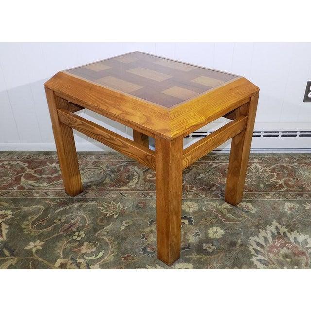 Lane Oak & Walnut Parquet Top End Table For Sale - Image 12 of 12