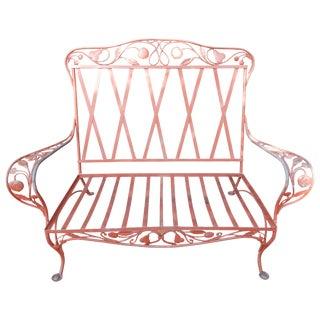 Salterini Wrought Iron Ornate Loveseat, Della Robbia Pattern For Sale