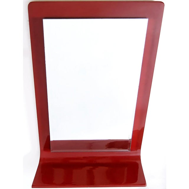 Mid-Century Modern Gampel-Stoll Red Lacquered Wall Mirror With Integral Console For Sale - Image 3 of 6