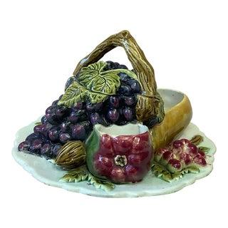 Antique French Majolica Fruits Trompe l'Oeil Server Circa 1880 For Sale