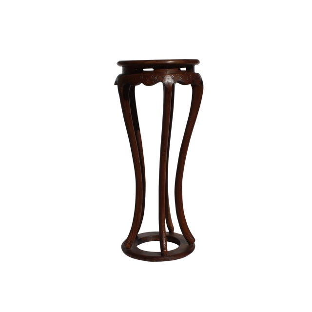 Chinese Brown Tall Round 5 Legs Plant Stand Pedestal Table For Sale