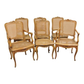 Louis XV Walnut Caned Dining Chairs - Set of 6