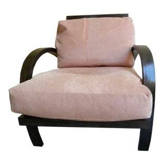 1970s Vintage Sally Sirkin Lewis for J. Robert Scott New York Ebonized Frame Blush Pink Armchair For Sale