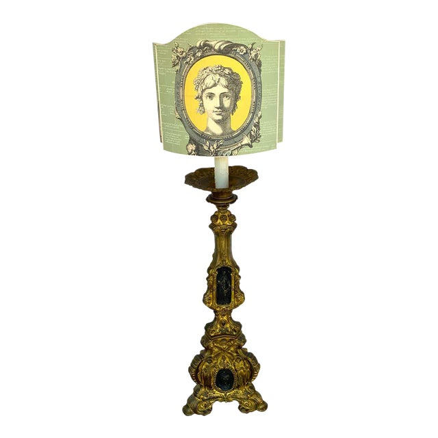 19th Century Italian Bronze Altar Candlestick, Custom Shade, Now Electrified For Sale