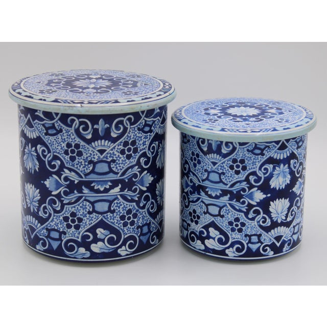 Mid 20th Century Floral Blue and White Delft Tole Lidded Nesting Canisters - a Pair For Sale - Image 5 of 12
