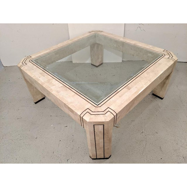 Alexvale Furniture - Tessellate Stone Cocktail Table. W/ Brass Trim, Vintage For Sale - Image 10 of 10