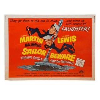 """1952 Dean Martin & Jerry Lewis """"Sailor Beware"""" Movie Poster For Sale"""