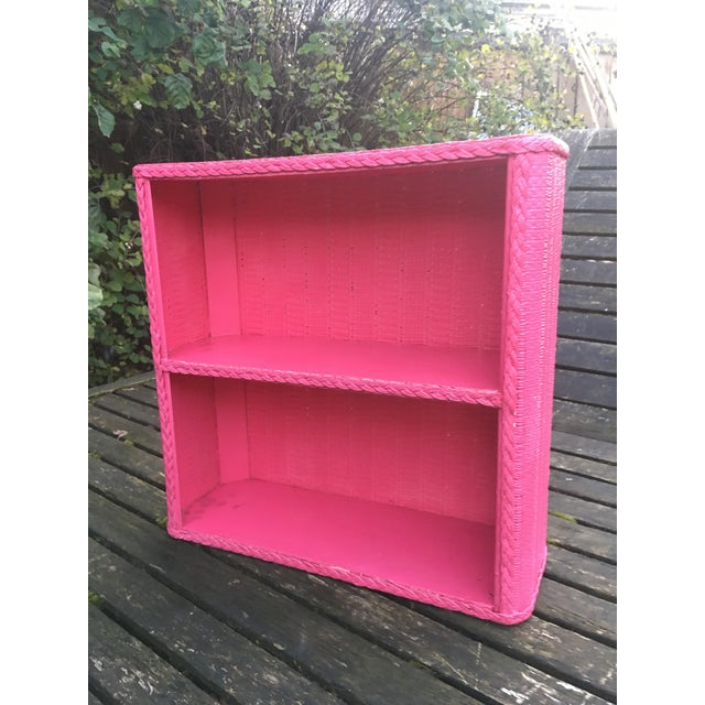 Paint 1950s Shabby Chic Hot Pink Wicker Shelf For Sale - Image 7 of 10