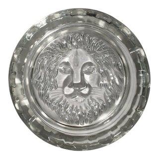 Vintage Glass Lion Ashtray For Sale