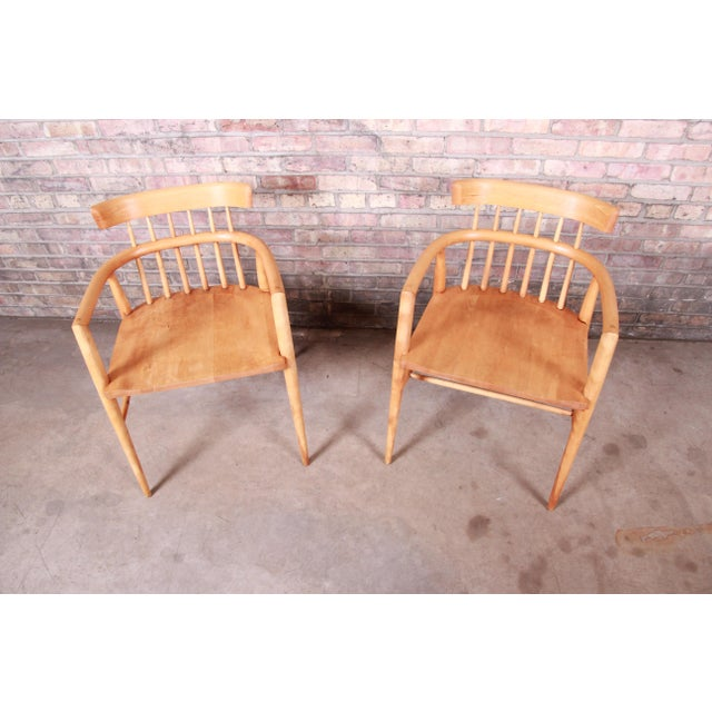 1950s Paul McCobb Planner Group Solid Maple Spindle Back Armchairs - a Pair For Sale - Image 5 of 13