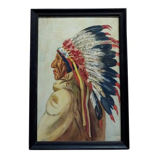 George Bertrand Mitchell- Portrait of an Indian Chief -Painting - C.1910s For Sale