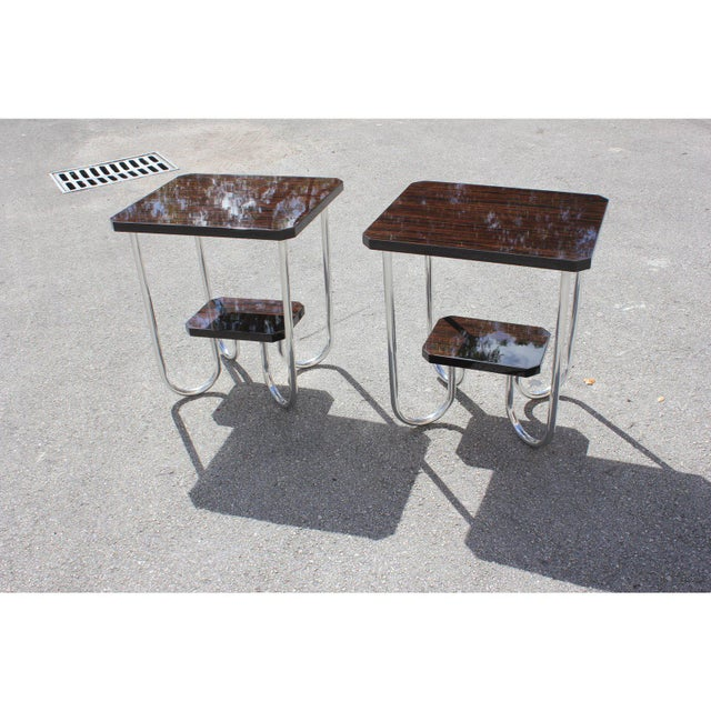 1940s Modern Exotic Macassar Ebony Side Tables - a Pair For Sale - Image 10 of 11