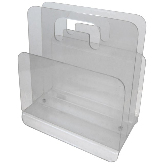 Clear Acrylic Magazine Holder, Circa 1976 For Sale - Image 13 of 13