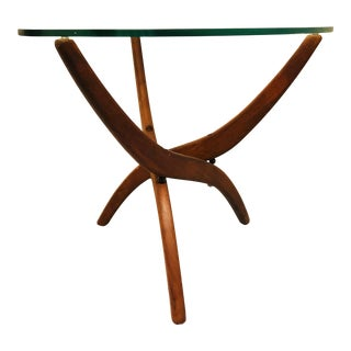 1960s Mid Century Modern Forest Wilson Spider Leg Glass and Wood Minimalist End Table For Sale