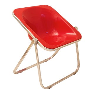1970s Giancarlo Piretti for Castelli Red Folding Plona Chair' For Sale
