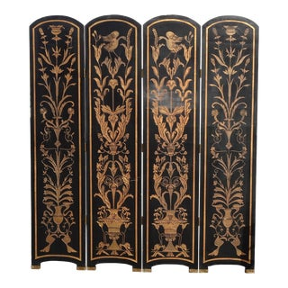 Vintage Oriental Asian Chinoiserie Four Panel Black Lacquer Screen/Room Divider For Sale