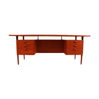 Danish Modern Kai Kristiansen Executive Teak Floating Top Desk For Sale