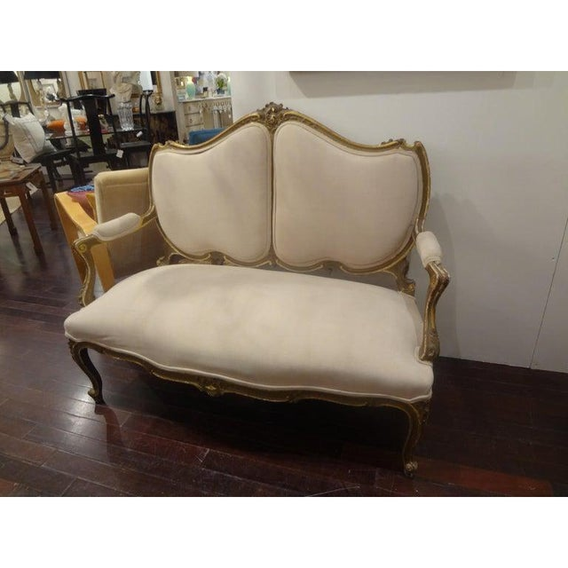 Cream Late 19th Century Italian Louis XV Style Giltwood Loveseat For Sale - Image 8 of 11