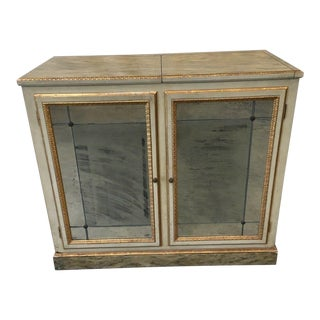 Italian Painted Mirrored Console Buffet Cabinet With Faux Marble Finish For Sale