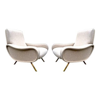 Marco Zanuso Pair of Vintage Lady Chairs Newly Recovered in Beige Wool Chine For Sale