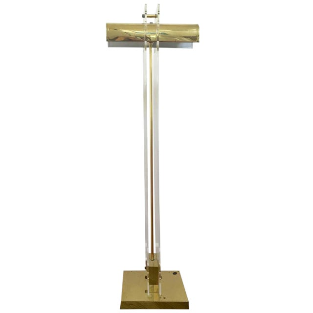 Pierre Cardin Style Brass and Lucite Floor Lamp For Sale