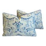 """Image of Italian Mariano Fortuny Mazzarino Feather/Down Pillows 23"""" X 16"""" - Pair For Sale"""
