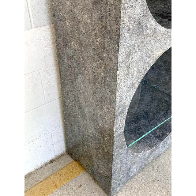 Glass Modern Tessellated Stone Monolithic Bookcase / Vitrine For Sale - Image 7 of 13