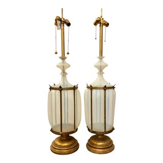 Pair of Hollywood Regency Seguso Murano White Caged Glass Table Lamps For Sale