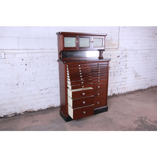 1920s Exceptional Antique 22 Drawer Mahogany Dental Cabinet For Sale In South Bend - Image 6 of 13