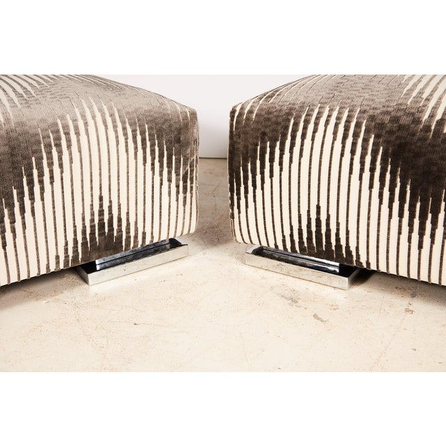 Pair of Midcentury Chrome Footed Ottomans in Jim Thompson Fabric For Sale In Atlanta - Image 6 of 13