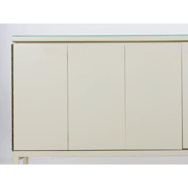 Glass Vintage Modern White Lacquer Cabinet Credenza With Eight Drawers Circa 1980s For Sale - Image 7 of 13