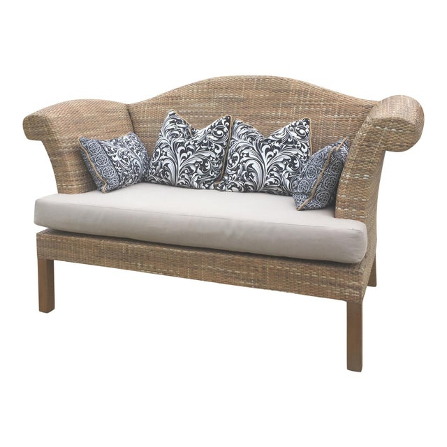 Natural Woven Rattan Settee For Sale - Image 9 of 9
