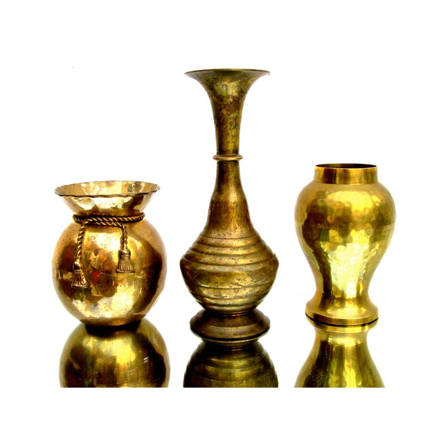 Vintage Brass Bud Vases - Set of 5 For Sale - Image 5 of 8