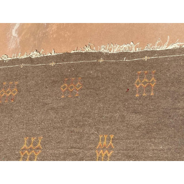 1960s Moroccan Vintage Flat-Weave Brown Rug For Sale - Image 5 of 13