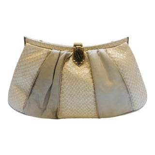 Morris Moskowitz Calfskin and Python Clutch For Sale