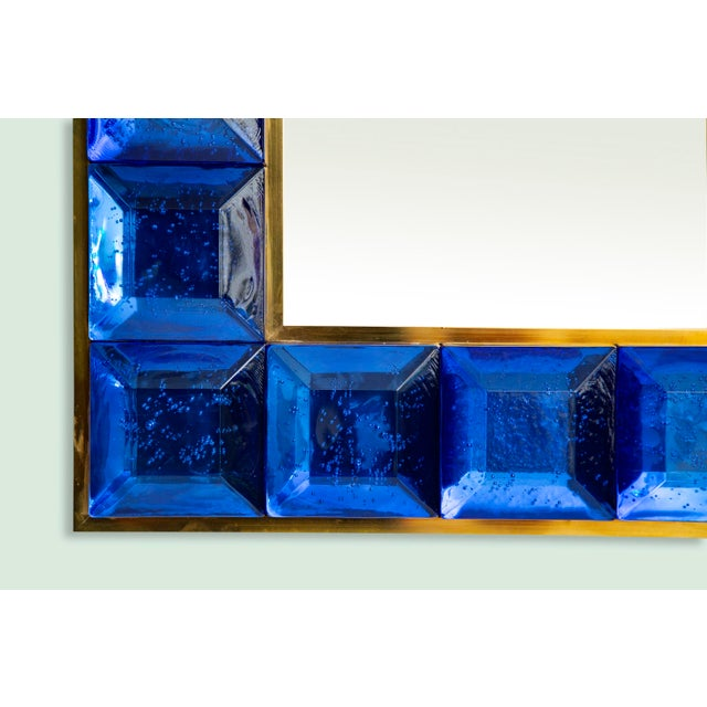 2010s Contemporary Blue Diamond Murano Glass Mirror For Sale - Image 5 of 8