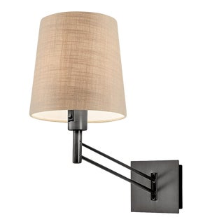 Adjustable Black Bronze Wall Light With Shade For Sale