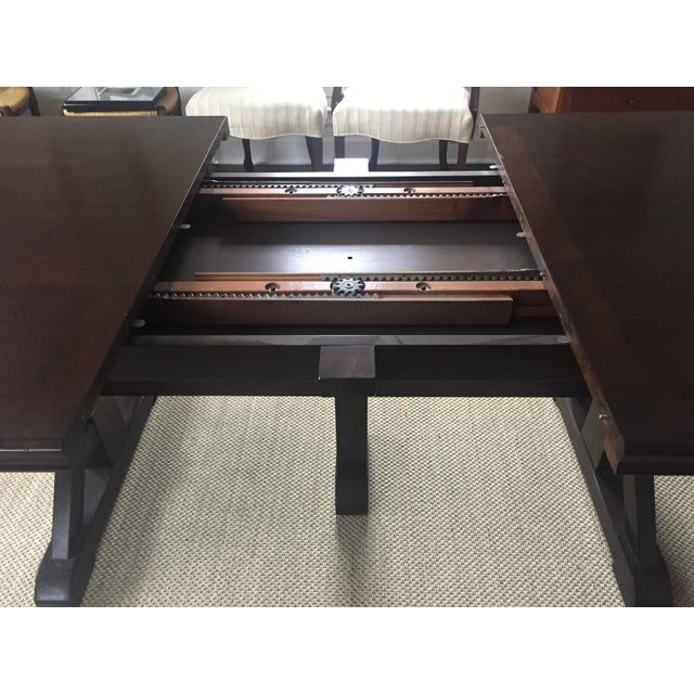 Industrial Mahogany Finish Solid Dining Table For Sale - Image 3 of 8