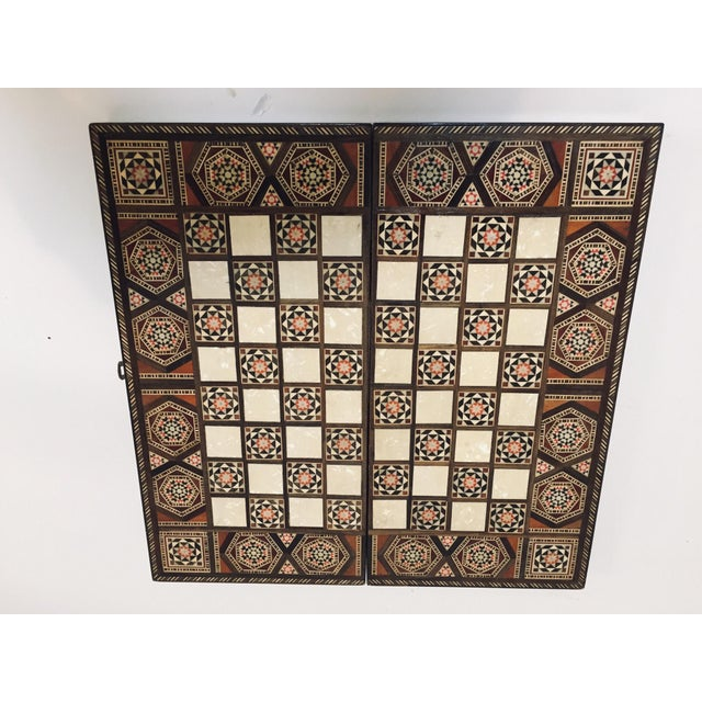 Vintage Mid-Century Syrian Inlaid Mosaic Backgammon and Chess Game For Sale - Image 11 of 12