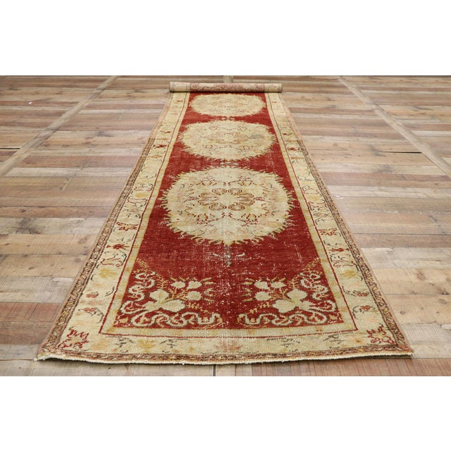 Textile Vintage Turkish Oushak Runner - 03'03 X 11'05 For Sale - Image 7 of 10