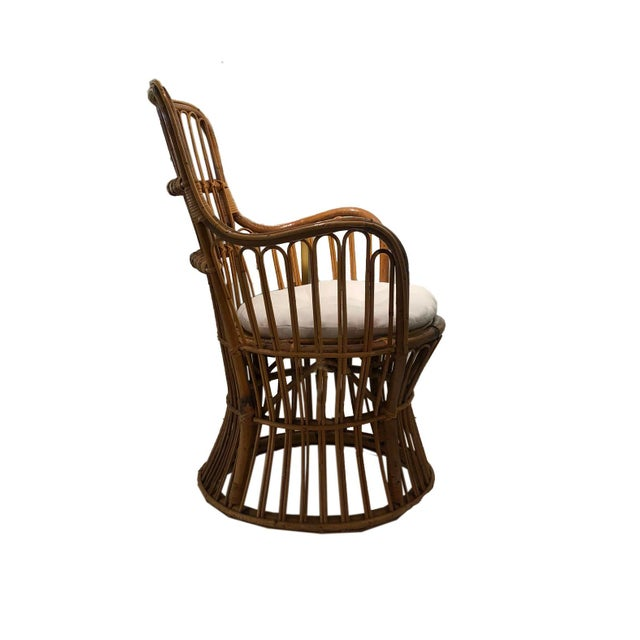 Vintage Coastal Rattan Chair With New Upholstered Cushion For Sale In Wichita - Image 6 of 7