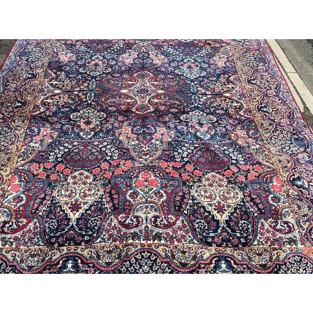 Early 20th Century Palatial Antique Persian Carpet With Red Border, Blues, Reds, Creams, Kermin For Sale - Image 5 of 13