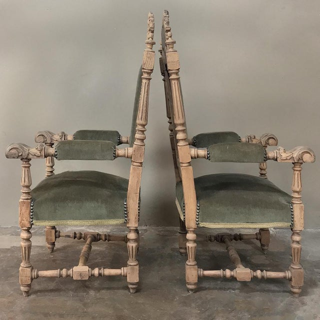 Tan Pair 19th Century Black Forest Stripped Oak Armchairs For Sale - Image 8 of 11
