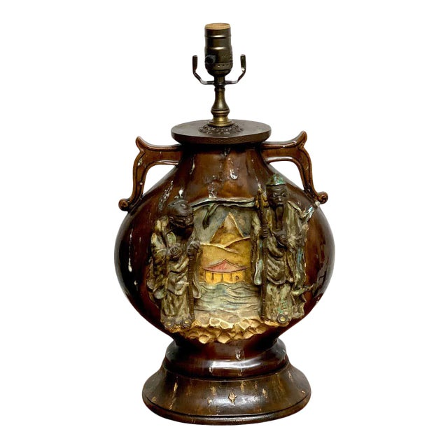 Fantoni Chinoiserie Pottery Lamp For Sale