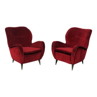 Mid-Century Modern Gio Ponti Style Red Lounge Chairs - a Pair