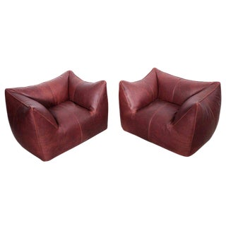 Pair of Le Bambole Lounge Armchairs B&b Italia, 1970s by Mario Bellini For Sale