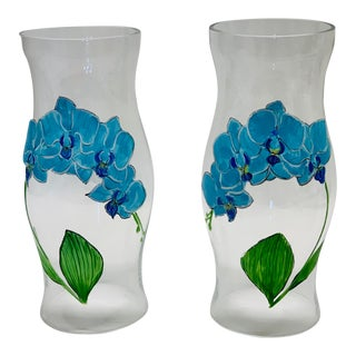Hand Painted Blue Flowers Glass Candle Hurricanes - a Pair For Sale