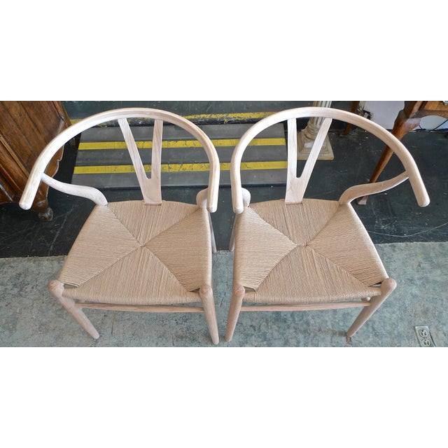 Contemporary Danish 1960s Style Wishbone White Oak Riff Wood Arm Chairs - Set of 6 For Sale - Image 4 of 13